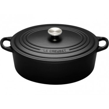 cocotte en fonte le creuset ovale noir mat 33 cm. Black Bedroom Furniture Sets. Home Design Ideas